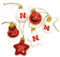 6 Pk Husker Ornaments Nebraska Cornhuskers, Nebraska  Holiday Items, Huskers  Holiday Items, Nebraska 6 Pk Husker Ornaments, Huskers 6 Pk Husker Ornaments