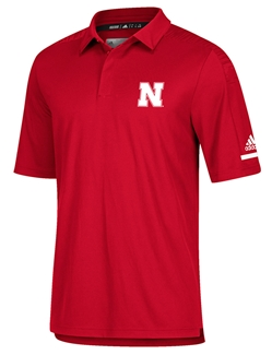 Adidas 2018 Husker Coaches Sideline Polo - Red Nebraska Cornhuskers, Nebraska  Mens Polo's, Huskers  Mens Polo's, Nebraska Polo's, Huskers Polo's, Nebraska Adidas 2018 Husker Coaches Sideline Polo - Red, Huskers Adidas 2018 Husker Coaches Sideline Polo - Red