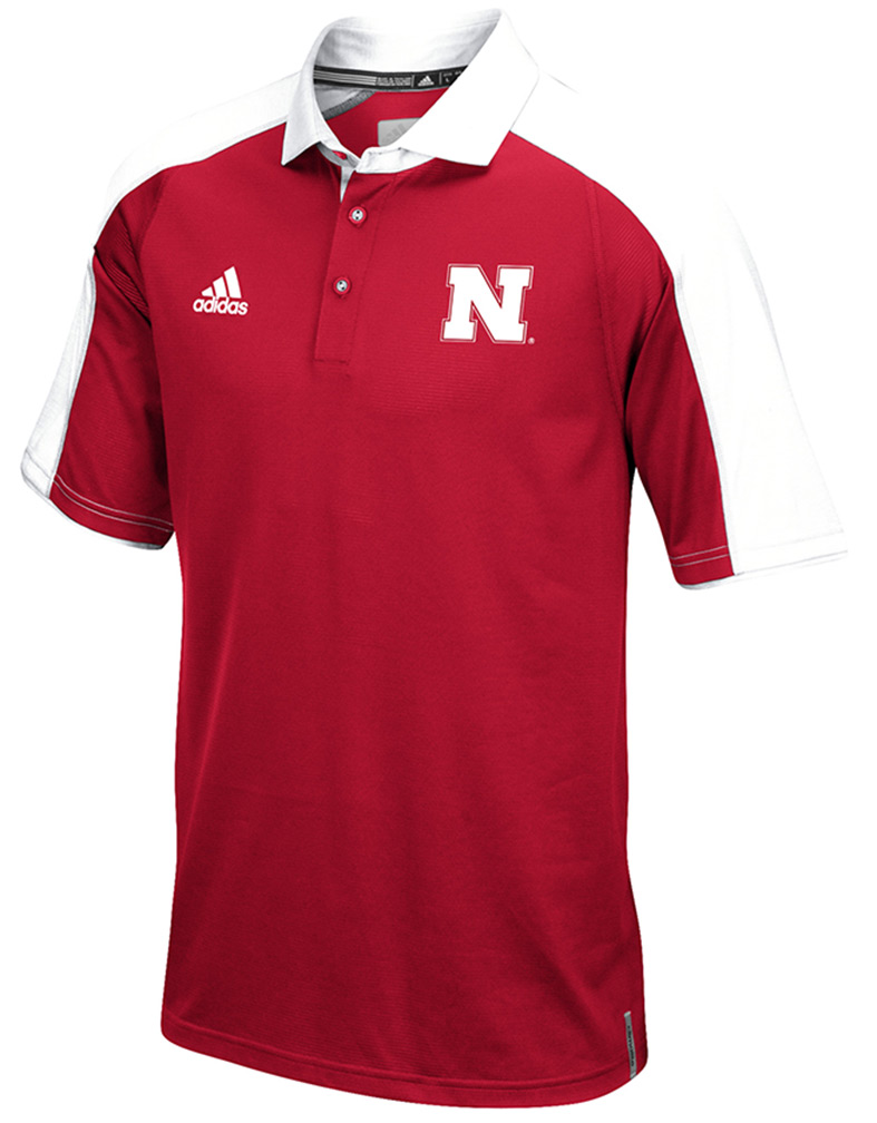 Adidas Hi Vis Husker Climalite Red Coaches Polo Nebraska Cornhuskers, Nebraska Polo's, Huskers Polo's, Nebraska  Mens Polo's, Huskers  Mens Polo's, Nebraska Adidas Hi Vis Husker Climalite Red Coaches Polo, Huskers Adidas Hi Vis Husker Climalite Red Coaches Polo