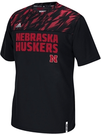 Adidas Husker Shock Energy Performance Crew - Black Nebraska Cornhuskers, Nebraska Polo's, Huskers Polo's, Nebraska  Mens Polo's, Huskers  Mens Polo's, Nebraska Adidas Husker Shock Energy Performance Crew - Black, Huskers Adidas Husker Shock Energy Performance Crew - Black