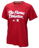Adidas Huskers Red Burns Brighter Tee Nebraska Cornhuskers, Nebraska Adidas Burns Brighter Tee, Huskers Adidas Burns Brighter Tee