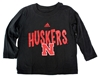 Adidas Huskers Whirlwind Toddler Tee - Black Nebraska Cornhuskers, Nebraska  Childrens, Huskers  Childrens, Nebraska  Kids, Huskers  Kids, Nebraska Black LS Whirlwind Tee, Huskers Black LS Whirlwind Tee