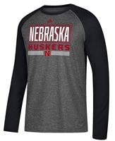 Adidas Nebraska Huskers Raglan Linear Stack Nebraska Cornhuskers, Nebraska  Mens T-Shirts, Huskers  Mens T-Shirts, Nebraska  Mens, Huskers  Mens, Nebraska  Long Sleeve, Huskers  Long Sleeve, Nebraska Adidas Gray Raglan Ultimate Linear Stack, Huskers Adidas Gray Raglan Ultimate Linear Stack
