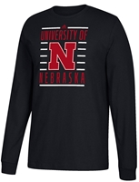 Adidas University of Nebraska Big Bars Tee Nebraska Cornhuskers, Nebraska  Mens T-Shirts, Huskers  Mens T-Shirts, Nebraska  Mens, Huskers  Mens, Nebraska  Long Sleeve, Huskers  Long Sleeve, Nebraska Adidas Black LS Go To Tee Big Bars, Huskers Adidas Black LS Go To Tee Big Bars