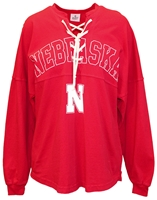 Arch Nebraska Lace-Up Jersey Top Nebraska Cornhuskers, Nebraska  Ladies Sweatshirts, Huskers  Ladies Sweatshirts, Nebraska  Ladies, Huskers  Ladies, Nebraska Red W Lace Up Sweatshirt SJ, Huskers Red W Lace Up Sweatshirt SJ
