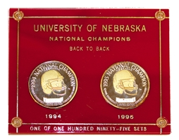 Back To Back Champs Silver Coin Set Nebraska Cornhuskers, Coach Devaney Career Coin