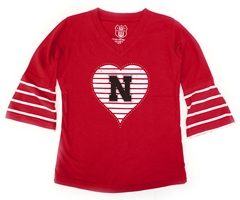 Bell Sleeve Husker Heart Shirt Nebraska Cornhuskers, Nebraska  Infant, Huskers  Infant, Nebraska  Childrens, Huskers  Childrens, Nebraska Red Girls Bell Sleeve Heart Shirt WW, Huskers Red Girls Bell Sleeve Heart Shirt WW