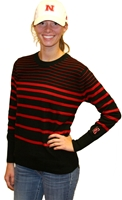 Black/Red Striped Crew UG Nebraska Cornhuskers, Nebraska  Ladies Sweatshirts, Huskers  Ladies Sweatshirts, Nebraska  Ladies, Huskers  Ladies, Nebraska Black/Red Striped Crew UG, Huskers Black/Red Striped Crew UG