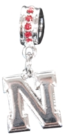 Bling Red N logo Charm Nebraska Cornhuskers, Nebraska  Ladies Accessories, Huskers  Ladies Accessories, Nebraska  Jewelry & Hair, Huskers  Jewelry & Hair, Nebraska Bling Red N logo Charm, Huskers Bling Red N logo Charm