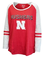 Huskers Boogaloo Raglan Nebraska Cornhuskers, Nebraska  Ladies Tops, Huskers  Ladies Tops, Nebraska  Ladies T-Shirts, Huskers  Ladies T-Shirts, Nebraska  Ladies, Huskers  Ladies, Nebraska Stripe W Raglan 3/4 Sleeve Plus Klutch, Huskers Stripe W Raglan 3/4 Sleeve Plus Klutch