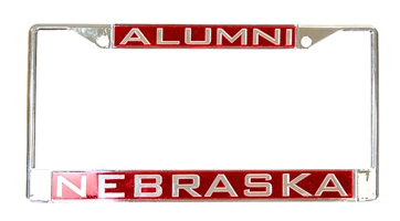 Chrome Nebraska Alumni Inlayed License Frame Nebraska Cornhuskers, Nebraska Vehicle , Huskers Vehicle , Nebraska Chrome Inlay Red Alumni License Frame WC, Huskers Chrome Inlay Red Alumni License Frame WC