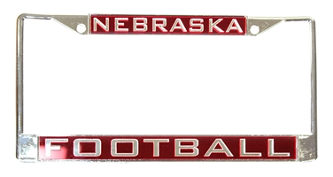 Chrome Nebraska Football Inlayed License Frame Nebraska Cornhuskers, Nebraska Vehicle, Huskers Vehicle, Nebraska Chrome Inlay Red Football License Frame WC, Huskers Chrome Inlay Red Football License Frame WC