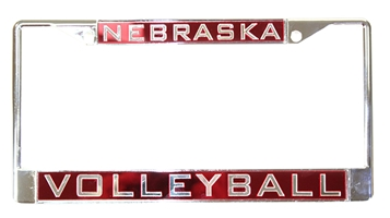Chrome Nebraska Volleyball Inlayed License Frame Nebraska Cornhuskers, Nebraska Vehicle, Huskers Vehicle, Nebraska Volleyball, Huskers Volleyball, Nebraska Chrome Inlay Red Volleyball License Frame WC, Huskers Chrome Inlay Red Volleyball License Frame WC