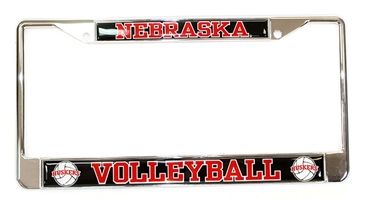 Chrome Nebraska Volleyball License Frame Nebraska Cornhuskers, Nebraska Vehicle, Huskers Vehicle, Nebraska Domed Volleyball License Frame Stockdale, Huskers Domed Volleyball License Frame Stockdale