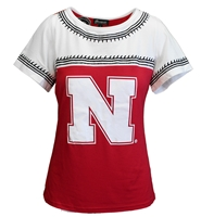 Nebraska N Sharkbite Couture Top Nebraska Cornhuskers, Nebraska  Ladies Tops, Huskers  Ladies Tops, Nebraska Embroidered Trim W SS GDC Tee, Huskers Embroidered Trim W SS GDC Tee