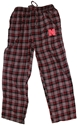Empire Mens Plaid Flannel Loungers Nebraska Cornhuskers, Mens Plaid Flannel Pant, Black, Red