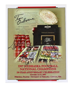Frost Osborne Wistrom Peter Autographed 1997 National Champs Reunion Program Scott Frost Autographed 1998 Orange Bowl Journal Star January 1st Preview Paper