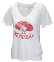 Herbie Nebraska Football Vintage V-Neck Tee Nebraska Cornhuskers, Nebraska  Ladies T-Shirts, Huskers  Ladies T-Shirts, Nebraska  Ladies, Huskers  Ladies, Nebraska White W Vneck Herbie Football RB Tee, Huskers White W Vneck Herbie Football RB Tee