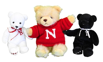 Husker Beanie and Teddy Bear Trio Nebraska Cornhuskers, husker football, nebraska cornhuskers merchandise, nebraska merchandise, husker merchandise, nebraska cornhuskers apparel, husker apparel, nebraska apparel, husker childrens apparel, nebraska cornhuskers childrens apparel, nebraska kids apparel, husker kids apparel, husker kids merchandise, nebraska cornhuskers kids merchandise,Plush White Nebraska Bear