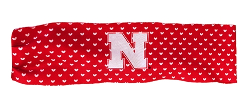Husker Hearts Wide Stretch Headband Nebraska Cornhuskers, Nebraska  Ladies Accessories, Huskers  Ladies Accessories, Nebraska  Jewelry & Hair, Huskers  Jewelry & Hair, Nebraska Red Hearts Wide Sublimated Stretch Headband, Huskers Red Hearts Wide Sublimated Stretch Headband