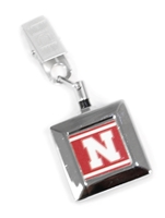 Husker N Square Badge Reel Clip Nebraska Cornhuskers, Nebraska  Mens, Huskers  Mens, Nebraska  Ladies, Huskers  Ladies, Nebraska Silver Square Badge Reel RR, Huskers Silver Square Badge Reel RR