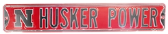 Husker Power Steel Steel Street Sign Nebraska Cornhuskers, Husker Power Steel Street Sign