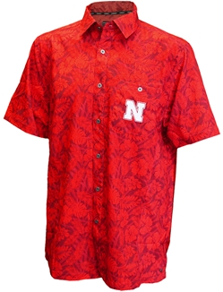 Huskers Hawaiian Camp Shirt Nebraska Cornhuskers, Nebraska  Mens Polo's, Huskers  Mens Polo's, Nebraska Polo's, Huskers Polo's, Nebraska Red Hawaiian Camp Shirt Col, Huskers Red Hawaiian Camp Shirt Col
