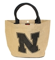Huskers Jute Tote Nebraska Cornhuskers, Nebraska  Bags Purses & Wallets, Huskers  Bags Purses & Wallets, Nebraska  Ladies, Huskers  Ladies, Nebraska  Ladies Accessories, Huskers  Ladies Accessories, Nebraska Black Quilted Tote, Huskers Black Jute Tote