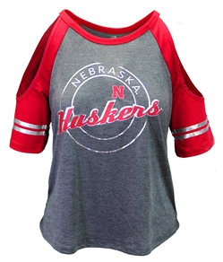 Huskers Mae Cold Shoulder Raglan Tee Nebraska Cornhuskers, Nebraska  Ladies Tops, Huskers  Ladies Tops, Nebraska  Ladies T-Shirts, Huskers  Ladies T-Shirts, Nebraska  Ladies, Huskers  Ladies, Nebraska Mae W Cold Shoulder SS Raglan Tee, Huskers Mae W Cold Shoulder SS Raglan Tee