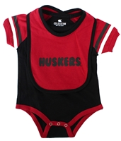 Huskers Roll Out Bib N Onesie Set  Nebraska Cornhuskers, Nebraska  Infant, Huskers  Infant, Nebraska Black Roll Out Bib Onesie Set Col, Huskers Black Roll Out Bib Onesie Set Col