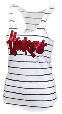 Huskers Stitch and Stripe Flynn Tank Nebraska Cornhuskers, Nebraska  Ladies Tops, Huskers  Ladies Tops, Nebraska  Tank Tops, Huskers  Tank Tops, Nebraska White Striped Huskers Flynn Tank, Huskers White Striped Huskers Flynn Tank
