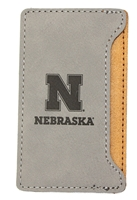 Iron N Velour Cell Phone Card Holder Nebraska Cornhuskers, Nebraska  Beads & Fun Stuff, Huskers  Beads & Fun Stuff, Nebraska Velour Gray Cell Cardholder, Huskers Velour Gray Cell Cardholder