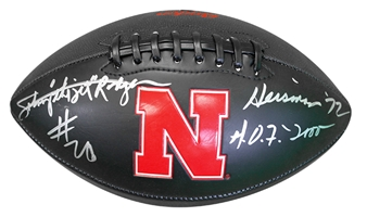 Johnny Rodgers Autographed Jet Huskers Football Nebraska Cornhuskers, Nebraska Pink, Huskers Pink, Nebraska Rodgers Autographed Anniversary Heisman Football, Huskers Rodgers Autographed Anniversary Heisman Football