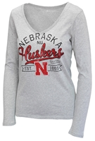 Ladies Husker Works V-Neck Nebraska Cornhuskers, Nebraska  Ladies Tops, Huskers  Ladies Tops, Nebraska  Ladies T-Shirts, Huskers  Ladies T-Shirts, Nebraska  Ladies, Huskers  Ladies, Nebraska  Long Sleeve, Huskers  Long Sleeve, Nebraska Gray W Vneck LS Script Tee , Huskers Gray W Vneck LS Script Tee