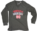 Ladies Long Sleeve Tee in Charcoal  Nebraska Cornhuskers, Nebraska  Ladies Tops, Huskers  Ladies Tops, Nebraska  Ladies T-Shirts, Huskers  Ladies T-Shirts, Nebraska Ladies Long Sleeve Tee in Charcoal , Huskers Ladies Long Sleeve Tee in Charcoal
