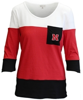 Ladies Nebraska N Pocket Scoop 3/4 Sleeve Top Nebraska Cornhuskers, Nebraska  Ladies Tops, Huskers  Ladies Tops, Nebraska Color Block W 34 Sleeve Pocket Tee UG, Huskers Color Block W 34 Sleeve Pocket Tee UG