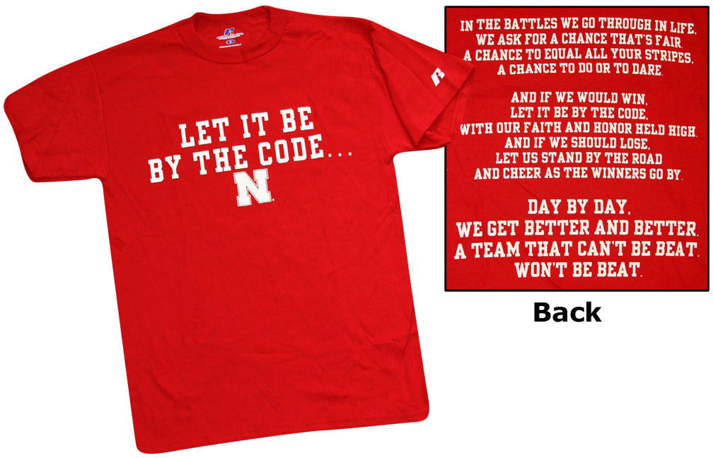 Let It Be By The Code Tee-Red Nebraska Cornhuskers, husker football, nebraska cornhuskers merchandise, nebraska merchandise, husker merchandise, nebraska cornhuskers apparel, husker apparel, nebraska apparel, husker mens apparel, nebraska cornhuskers mens apparel, nebraska mens apparel, husker mens merchandise, nebraska cornhuskers mens merchandise, mens nebraska t shirt, mens husker t shirt, mens nebraska cornhusker t shirt,Let It Be By The Code Tee-Red