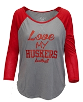 Love My Huskers Football Raglan Nebraska Cornhuskers, Nebraska  Ladies Tops, Huskers  Ladies Tops, Nebraska  Long Sleeve, Huskers  Long Sleeve, Nebraska  Ladies T-Shirts, Huskers  Ladies T-Shirts, Nebraska Love My Huskers Football Raglan, Huskers Love My Huskers Football Raglan