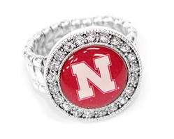 Nebraska Bling Stretch Ring Nebraska Cornhuskers, Nebraska  Ladies, Huskers  Ladies, Nebraska  Jewelry & Hair, Huskers  Jewelry & Hair, Nebraska  Ladies Accessories, Huskers  Ladies Accessories, Nebraska Nebraska Bling Stretch Ring, Huskers Nebraska Bling Stretch Ring