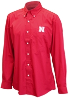 Nebraska Button Down Dress Shirt Nebraska Cornhuskers, Nebraska  Mens Polos, Huskers  Mens Polos, Nebraska Red LS Dress Shirt Button Down Ant, Huskers Red LS Dress Shirt Button Down Ant