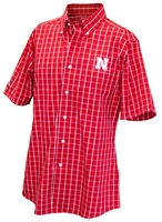 Nebraska Checkered Button Down Short Sleeve Shirt Nebraska Cornhuskers, Nebraska  Mens Polos, Huskers  Mens Polos, Nebraska Red SS Checkered Button Down Plaid Ant, Huskers Red SS Checkered Button Down Plaid Ant