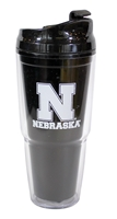 Nebraska Dual Insulated Travel Tumbler Nebraska Cornhuskers, Black Tumbler