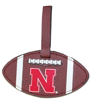 Nebraska Football Leather Grain Bag Tag Nebraska Cornhuskers, Nebraska  Bags Purses & Wallets, Huskers  Bags Purses & Wallets, Nebraska Brown Football Bag Tag Aminco, Huskers Brown Football Bag Tag Aminco
