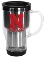 Nebraska Fresno Travel Handled Mug Nebraska Cornhuskers, Nebraska  Kitchen & Glassware, Huskers  Kitchen & Glassware, Nebraska Silver Fresno Travel Handled Mug, Huskers Silver Fresno Travel Handled Mug
