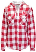 Nebraska Gals Checkered LS Hoody Top Nebraska Cornhuskers, Nebraska  Ladies Tops, Huskers  Ladies Tops, Nebraska  Ladies T-Shirts, Huskers  Ladies T-Shirts, Nebraska Red W Buffalo Check Hooded Tee Columbia , Huskers Red W Buffalo Check Hooded Tee Columbia