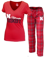 Nebraska Gals Plaid Sleepy Set Nebraska Cornhuskers, Nebraska  Ladies Underwear & PJs, Huskers  Ladies Underwear & PJs, Nebraska Sleep W Plaid Pant Top Set, Huskers Sleep W Plaid Pant Top Set