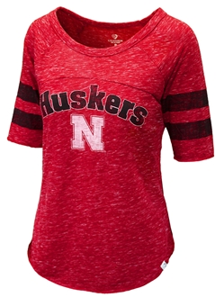 Nebraska Gals Raglan Striped Babitt Tee Nebraska Cornhuskers, Nebraska  Ladies Tops, Huskers  Ladies Tops, Nebraska  Ladies T-Shirts, Huskers  Ladies T-Shirts, Nebraska  Ladies, Huskers  Ladies, Nebraska Red Raglan Stripe Babitt Tee Col, Huskers Red Raglan Stripe Babitt Tee Col