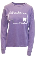Nebraska Grape State Hightail Tee Nebraska Cornhuskers, Nebraska  Ladies T-Shirts, Huskers  Ladies T-Shirts, Nebraska  Ladies, Huskers  Ladies, Nebraska  Ladies Tops, Huskers  Ladies Tops, Nebraska Purple LS State Hightail B84, Huskers Purple LS State Hightail B84