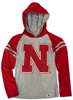 Nebraska Hooded Raglan Nebraska Cornhuskers, Nebraska  Childrens, Huskers  Childrens, Nebraska Gray Hooded Raglan Tee WW, Huskers Gray Hooded Raglan Tee WW