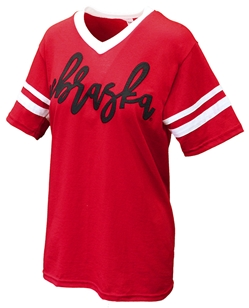 Nebraska Jersey Striped V-Neck Tee Nebraska Cornhuskers, Nebraska  Mens T-Shirts, Huskers  Mens T-Shirts, Nebraska  Mens, Huskers  Mens, Nebraska Mens Red Nebraska Vneck Tee T-Shirt, Huskers Mens Red Nebraska Vneck Tee